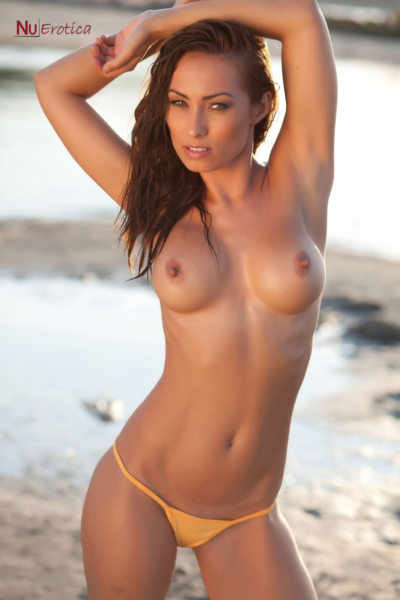 Topless Hungarian Model At The Beach-8787