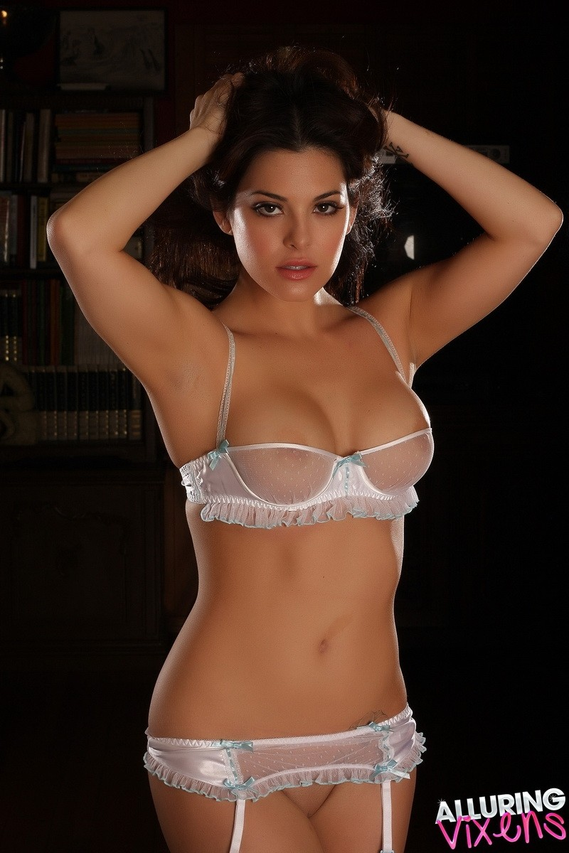 Authoritative Sexy brunette sheer lingerie