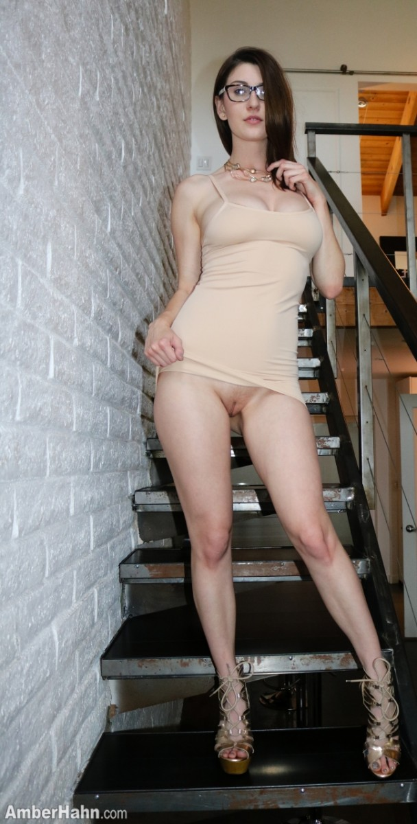 Amber Hahn In A Tight Dress On Stairs-7648