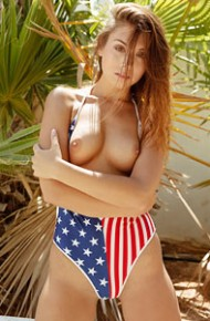 Sabrisse A Takes off her US Flag Swimsuit