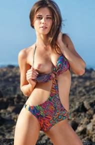 Little Caprice Takes off her Swimsuit