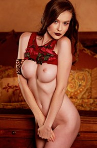 Emily Bloom in a Red Bodysuit