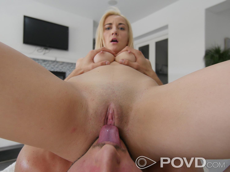 Skinny blonde gf worships big cock pov