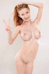 Helga Shows Big Oiled Tits