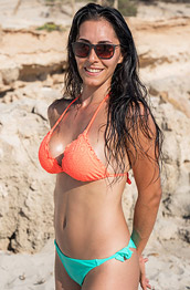 Helen V Takes off her Orange Bikini Top