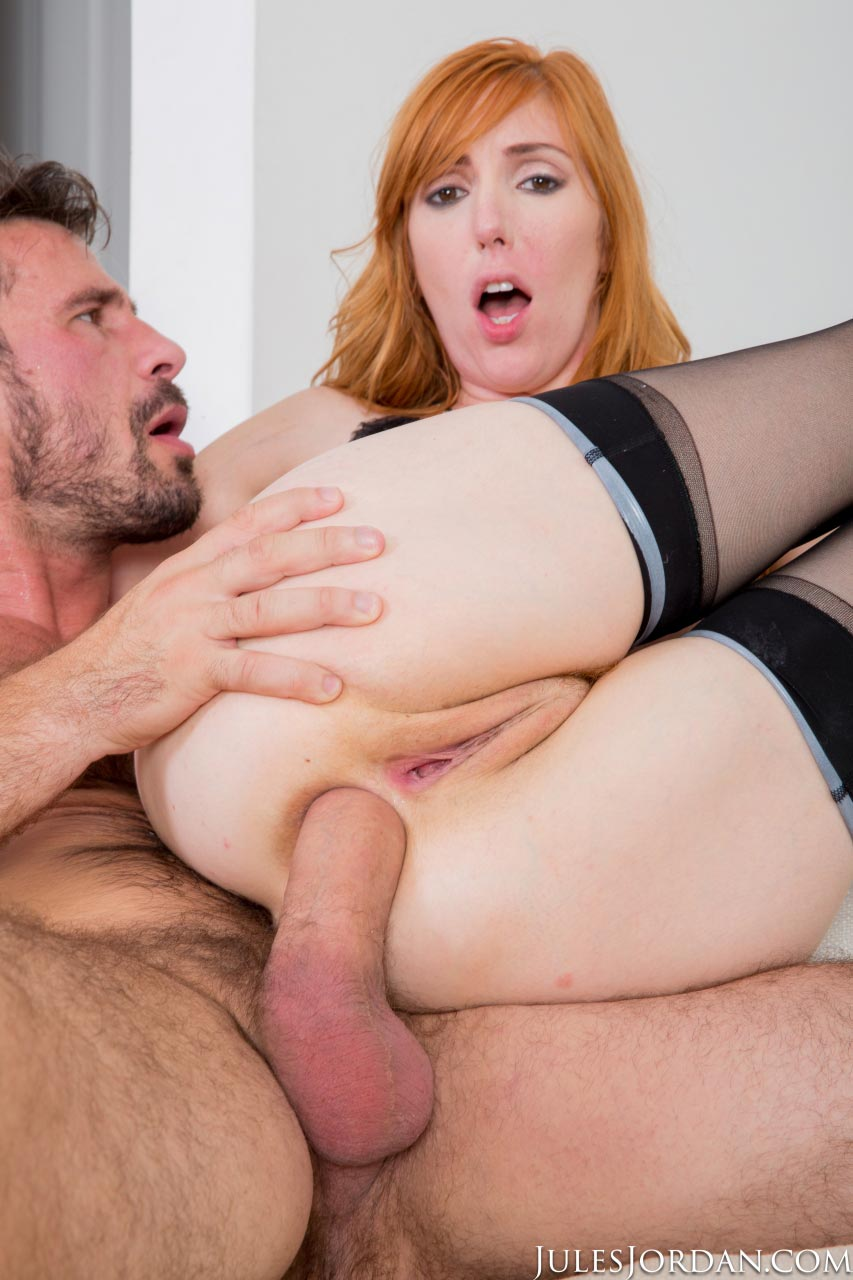 Awesome redhead takes huge cock