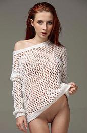 Helga Grey in a White Sweater
