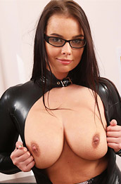 Kay Strips in Leather Catsuit