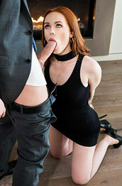 Ella Hughes Slim Redhead Rides Dick