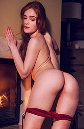 Jia Lissa Strips by the Fireplace