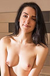 Gabi Sombra Naked on the Kitchen Counter