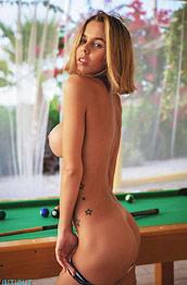 Jennifer Ann Strips by the Pool Table