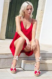 Victoriah in a Sexy Red Dress