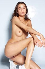 Sashenka Nude in White Sneakers