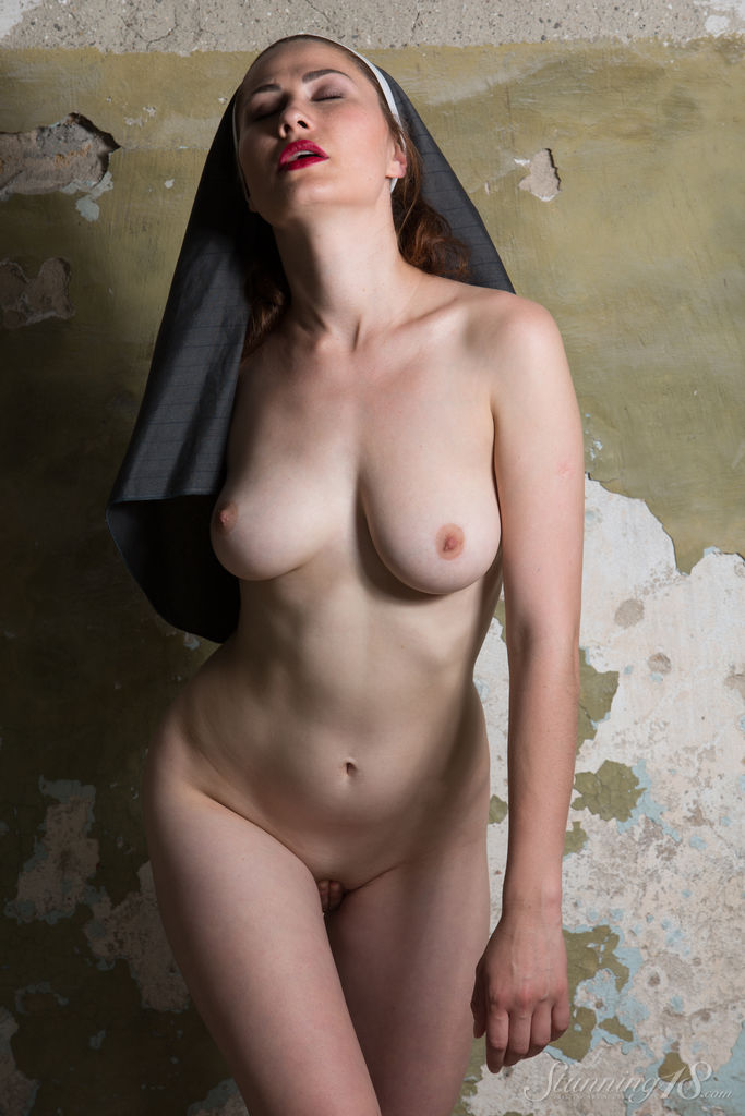 Judith Able Hot Nun Strips Naked-2042