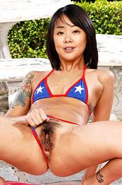 Saya Song Hairy Asian in a Bikini