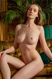 Emily Bloom Strips in the Living Room
