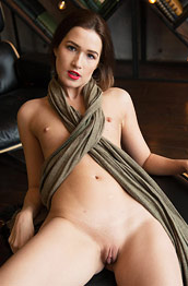 Karolina Young Naked in a Leather Chair