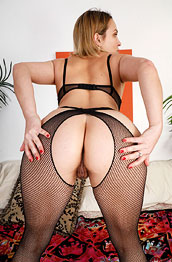 Lily Love Blonde in Fishnet