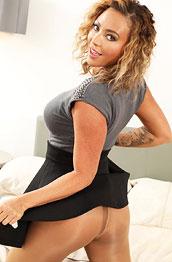Natalia Forrest Blonde in a Black Skirt